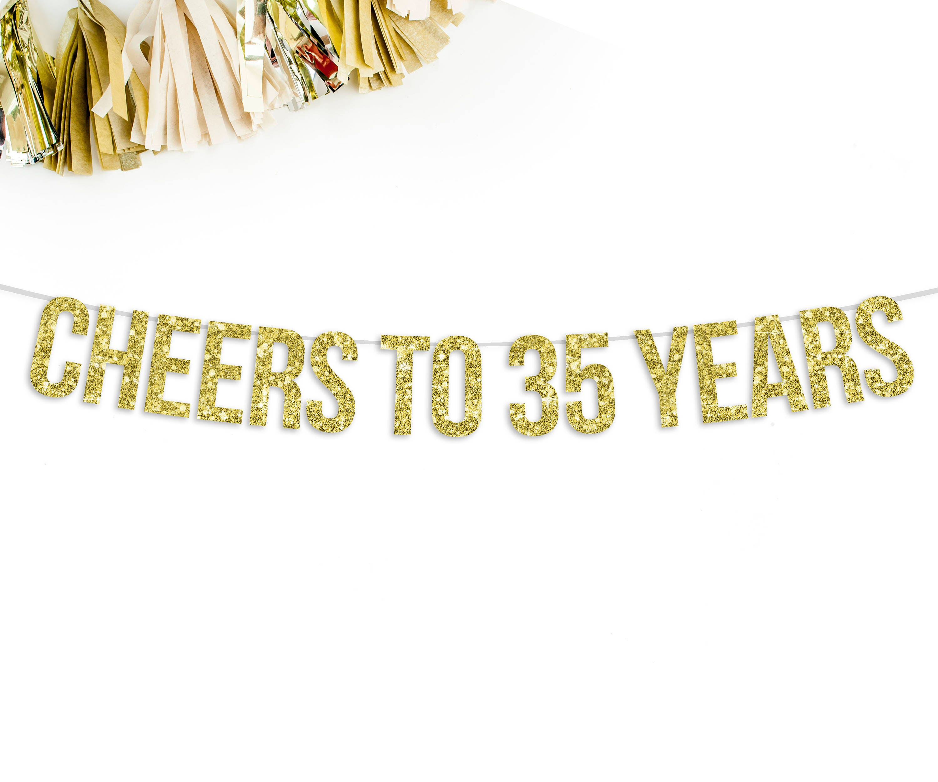 Wedding Anniversary 35 Years Gifts: Cheers To 35 Years Banner 35th Wedding Anniversary Party