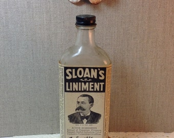 Vintage Sloan's Liniment Bottle and Box Collectors Item Collectible