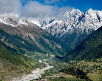 Landscape Photography, Nature Photography, Wall Decor, Georgia, Balkan, Tree, Mountain,Sky, Snow, Asia,Europe,Autumn, River