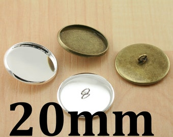 SEW  On BUTTON Bezel Blanks (10), 20mm SEALS (10 or 20), Glass (10). Pick your supplies, Silver or Bronze. Photo Craft