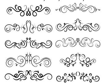 10pcs. Text Dividers photoshop brushes // Hand Drawn Vintage