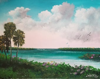Original Painting Florida Landscape Art Tropical Painting Lake Okeechobee 3 Palms