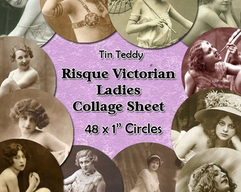 Risque Victorian Ladies Digital Collage Sheet  - 1 Inch Circles x 48  - Perfect for Jewelry, Bottle Caps etc Instant Download