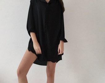 Women's silk shirt | Oversized silk shirt | Silk button-down shirt | Silk pajama | Silk sleepwear | Silk gowns