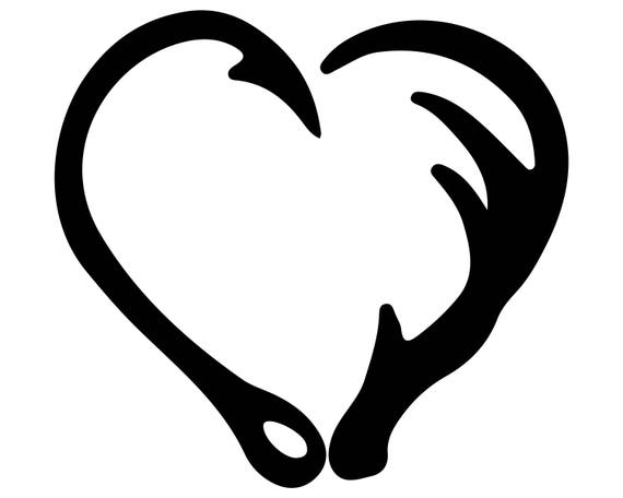 Fish Hook SVG Hook And Antler SVG Antler Heart Silhouette - photo#16