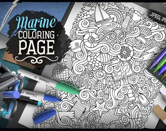 MARINE Coloring Page. Maritime Doodle. Digital Coloring. Summer Adult Coloring. Printable. Digital Download. Coloring sheet. Doodles Art.