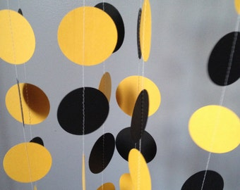 Black and Yellow 12 ft Circle Paper Garland- Party Decorations, Birthday, Wedding, Bridal Shower, Baby Shower