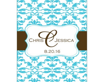98 - 2x2.67 inch Custom Wedding Rectangle or Mini Wine Bottle Labels - hundreds of designs - change designs to any color, wording etc WN-001