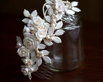 Verkauf - Hochzeit Braut Haarkamm, ROWAN mit Perlen und Vintage rose Perlen