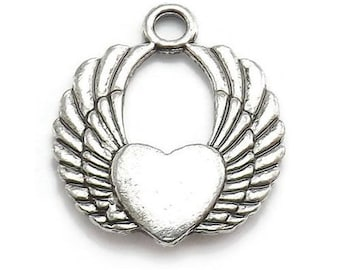 6 Winged Heart Charms Silver Tone (S468-cnt)