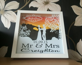 Personalised Las Vagas Wedding Shadow Frame