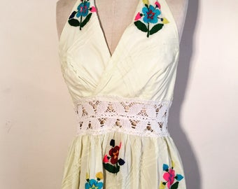 Vintage 60s 70s Yellow Embroidered Mexican Halter Dress