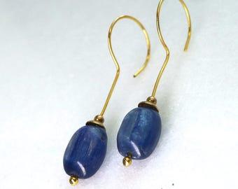 Phenomenal Indigo Kyanite Polished Focals, Vermeil Loops and Hook Earrings...