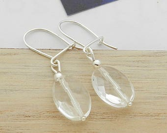Earrings in silver and rock crystal