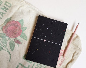 New in ! Planet  Notebook, Personalized Notebook, Custom Notebook, Travel Notebook, Space Notebook, Outer Space A5
