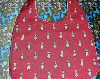 Cotton/Terry cloth bib bib * rabbit * 81/2 inches X 11 1/2-12 inches