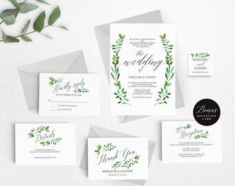 Rustic Wedding Invitation Template,Foliage Wedding Invitation Printable, Vintage Invitation,Cheap Invitation,DIY PDF Instant Download #E018i