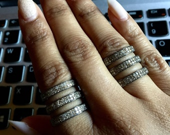 1 carat pave champagne diamond statement coil triple row sterling silver black rhodium oxidized ring