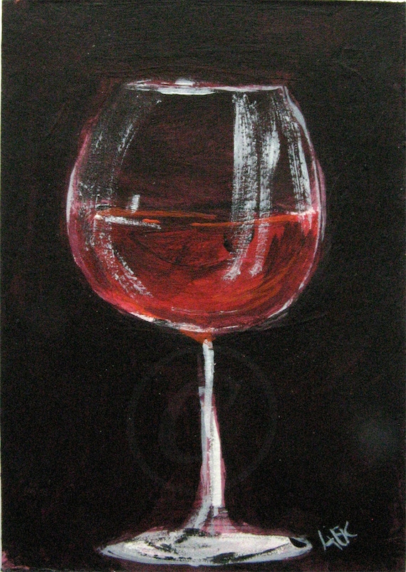 Items Similar To Red Wine Glass Painting Wine Art