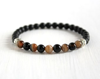 Men Black Thin Stretch Bracelet Boyfriend Gift Guy Minimalist Bracelet Natural Stone Jewelry Agate Beaded Stack Bracelet