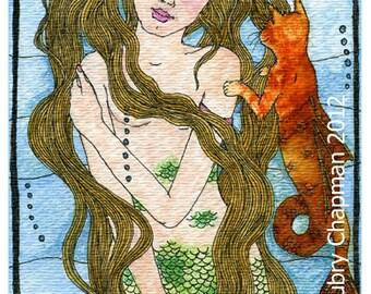 Mermaid Cat Mercat 4x6