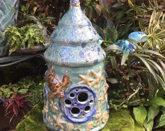 Ceramic Ocean Fairy House - Mermaid Fairy Garden Home - Faery House - Handcrafted Fairy House - Gnome Home - Toad Abode - Miniature Fairy