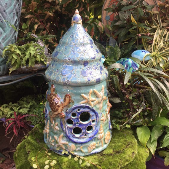 Ceramic Ocean Fairy House Mermaid Fairy Garden Home Faery
