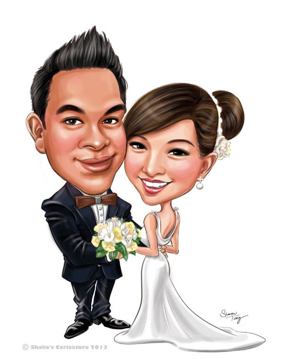 Custom Wedding Caricatures For Invitation Save The