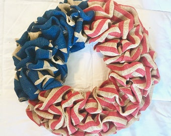 4th Of July Wreath, America Wreath, Flag Wreath, Memorial Day Wreath, Red White and Blue, Burlap Wreath, Stars and Stripes