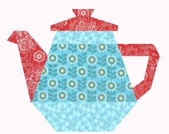 Tea Pot quilt block, paper pieced quilt pattern, PDF pattern, instant download, paper pieced quilt block pattern PDF