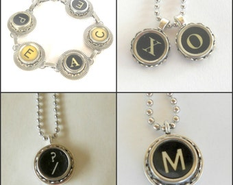 Antique Typewriter Key Necklace Vintage Initial Jewelry All Letters Available Personalize Initials