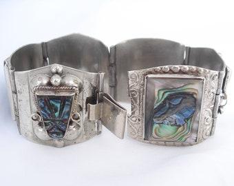 Mexico Sterling Silver Bracelet Hallmarked 925 Abalone Link Panel Bracelet with Mayan Masks