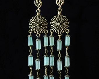 Vintage Chandelier Earrings Boho Earrings Boho Jewelry Long Chandelier Earrings Beaded Gemstone Earrings Boho Tribal Earrings Green Earrings
