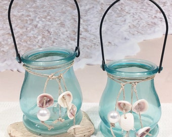 Beach Candle Holder, Coastal Candle, Beach Wedding Candle, Candle Lantern, Beach Decor, Seashell Candle Holder, Candle Centerpieces