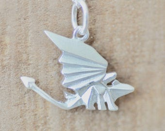 Origami Dragon Necklace in Sterling Silver, Dragon Pendant, Toothless Necklace, Dragon Jewelry, Jamber Jewels