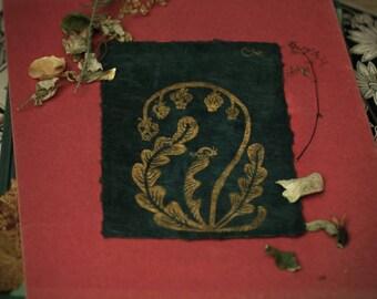 SKULLBELL LINOPRINT (green & gold)