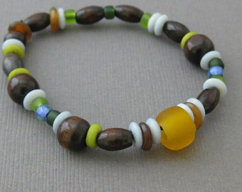 Blue, Green and Brown Bracelet with Wooden Beads for Boys, Medium Boys Stretch Bracelet, BB 103