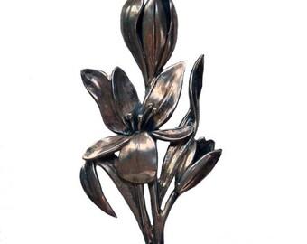 Large Vintage 1940's Sterling Silver Flower Brooch