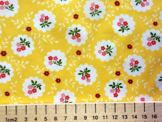 High quality cotton poplin printed in Japan, vintage floral on yellwo