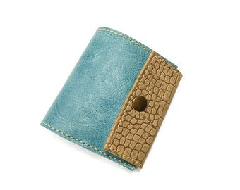 Leather wallet. Blue wallet. leather coin purse. Leather bifold. Handmade wallet