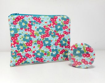Retro Flower Coin Purse with Pocket Mirror, Teal and Red Change Purse