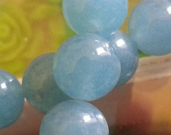 10 pearls of blue sponge quartz with 10mm hole 1 mm