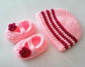 Baby Striped Beanie & Mary Jane with Flowers Set - 0 to 3 Months, 3 to 6 Months, 6 to 12 Months - Any Color - Baby Girl, Baby Boy