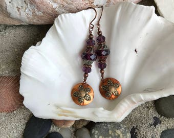 Copper Dangle Earring Flame Painted, Textured, Riveted to a Flower Design,and added to Purple Czech Glass Bead.