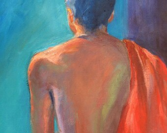 Africa GICLEE ART PRINT 11 x 17 female nude rich turquoise red purple home and garden
