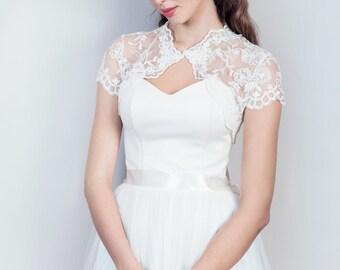 Short sleeve wedding jacket, lace bolero, cap sleeve bolero, white or ivory