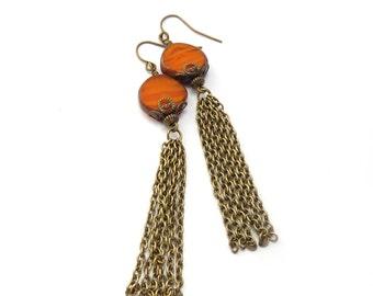 Orange Boho Tassel Earrings - Picasso Czech Glass Disc Beads - Bronze Chain - Bohemian Hippie Jewelry