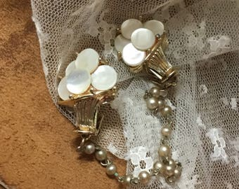 Darling Mother of Pearl MOP Disk Gold Tone Flower Basket Sweater Clips Unsigned 1950's 1960's Faux Pearl Beaded Chain Ultra Feminine Woman