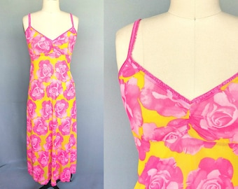 starburst / 90s hot pink and yellow rose print sheer maxi dress / flexible size up to large
