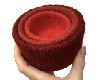 Felt Nesting Bowls Home Décor Felted Set Of Three Red Knitted Felted Wool Back to School Desk Organizer Container Storage Hostess Gift